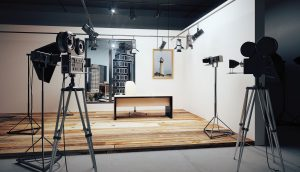 Empty Film Studio with Camera Equipment