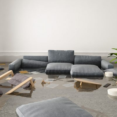3d rendering. flood in brand new apartment.